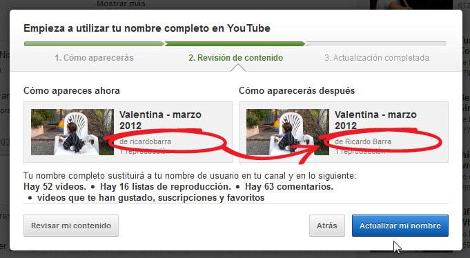 Cambio de nombre en cuenta de YouTube 2