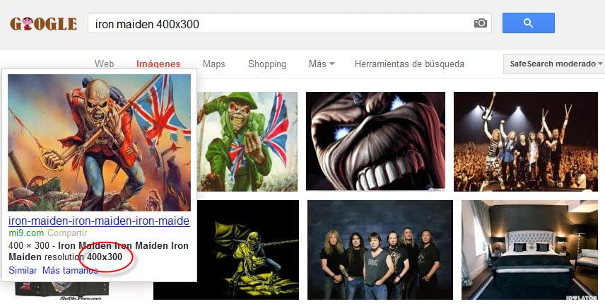 Google Images tamaño exacto