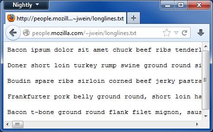 Archivo de texto con scroll horizontal
