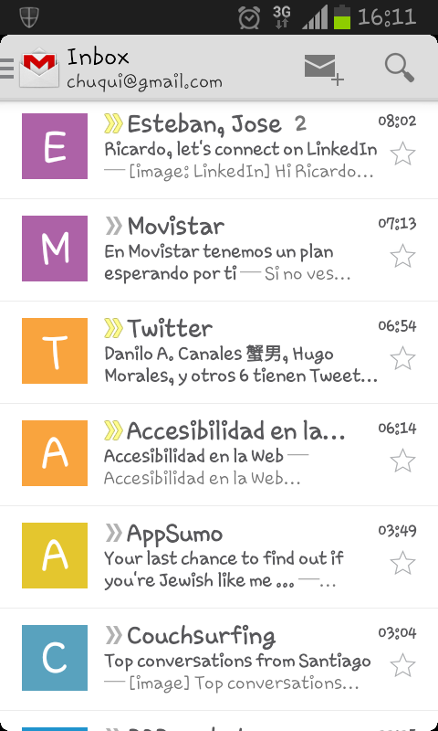 Imágenes de remitente en Gmail para Android