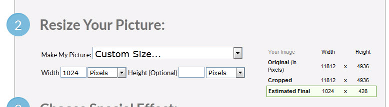 Redimensionar con tamaño personalizado