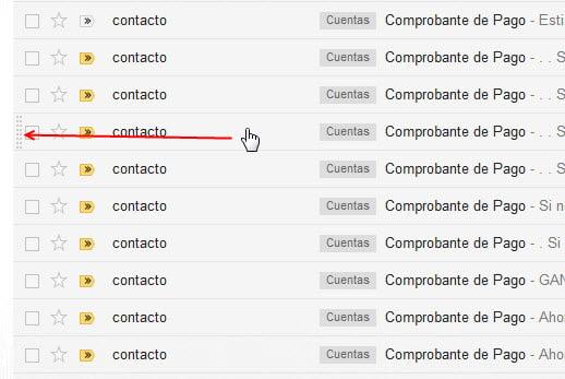 Indicadador de sobre qué correo está el cursor