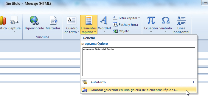Elementos rápidos de Outlook