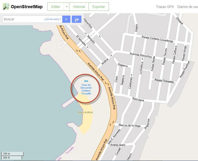 OpenStreetMap con error de digitación