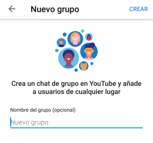 Grupo de chat en YouTube